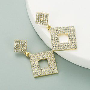 3/$20 New Rhinestone Square Dangle Earrings